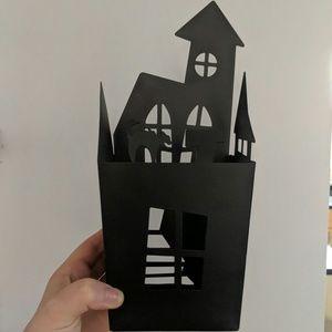 Target Black Metal Tin Haunted House Candle Holder